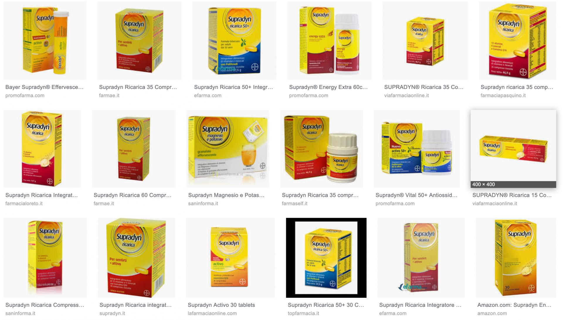 Il packaging inconfondibile del Supradyn in una schermata dei risultati di ricerca Google